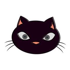 funny black cat head