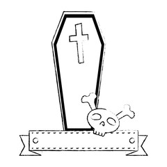 coffin halloween with skull decorative icon