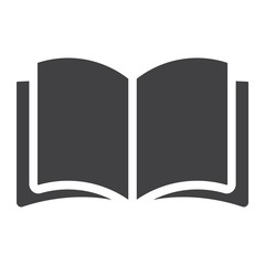 Open book glyph icon, web and mobile, read mode sign vector graphics, a solid pattern on a white background, eps 10.