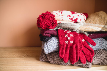 Pile of winter cloths
