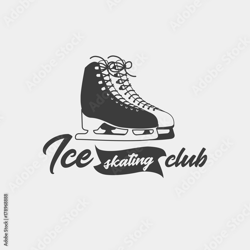 badge template for ice skating club monochrome symbol this logo