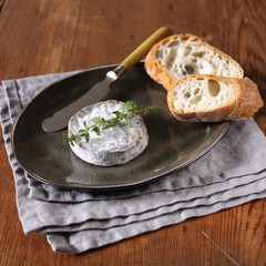 camembert with thyme and baguette
