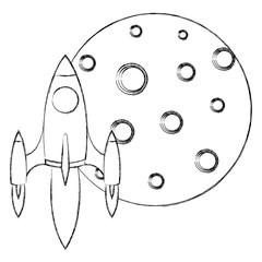 moon satellite with rocket flying