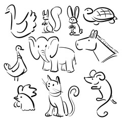 Doodle signs - Different animals and bird