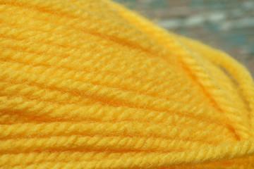 Wool yarns for knitting. Close-up.