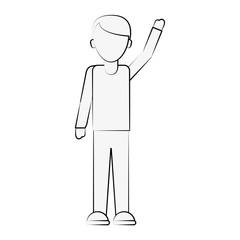 man lifting arm up avatar icon image vector illustration design  black sketch line