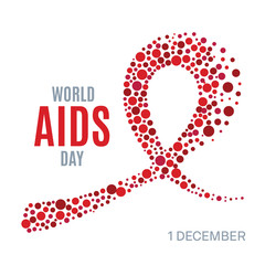 World AIDS Day awareness poster. Red ribbon made of small circles on white background. Symbol of acquired immune deficiency syndrome. Medical concept. Dotted design template. Vector illustration.