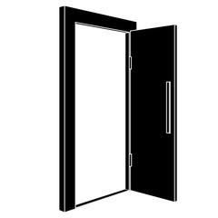 Black open door. Flat icon