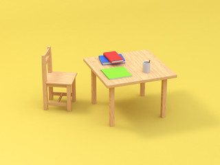 3d rendering abstract cartoon style chair book on table yellow background education concept