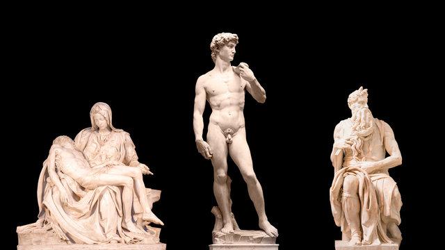 Michelangelo's statue of Moses, Pieta, David