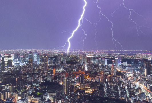 Heavy Thunderstorm and lightning over the night City, Storm and Rain