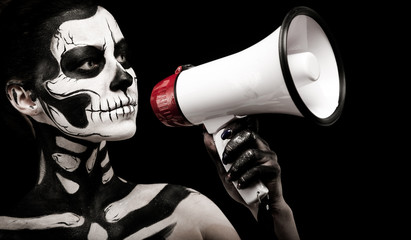 Attractive girl with skeleton makeup