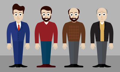 Set of vector illustrations of four men of different ages and in different clothes and with different hair styles - flat