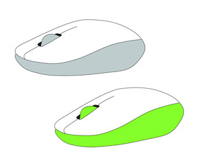 two pc computer mouse simple flat style icon picture of grey mouse and green mouse vector illustration isolated white background