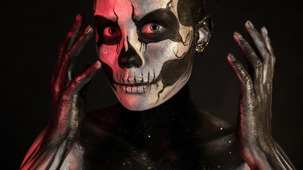 Pretty girl with skeleton makeup