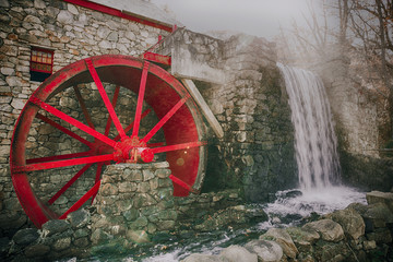 Door stickers Mills working water mill with a red wheel. old grist mill