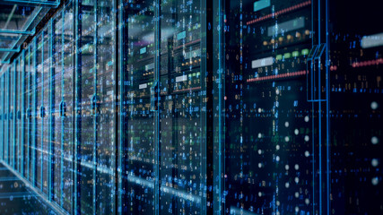 Server room or server computers with data hud.3d rendering.