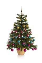 Illuminated Christmas tree isolated on white