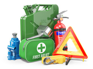 Group of automobile accessories. Jerrycan, funnel, fire extinguisher, first aid kit, tow rope, jack and emergency warning triangle.