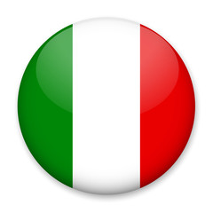 Flag of Italy in the form of a round button with a light glare and a shadow. The symbol of Independence Day, a souvenir, a button for switching the language on the site, an icon.