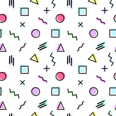 Memphis Style Seamless Pattern. Hipster trendy background. Geometric abstract texture.