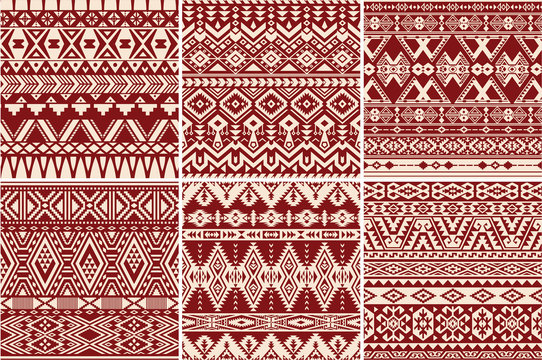 Set of 6 native american vector seamless patterns