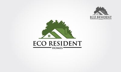 Vector logo design template of oak tree and house that made from a simple silhouette of tree. it's good for symbolize a property or housing business.