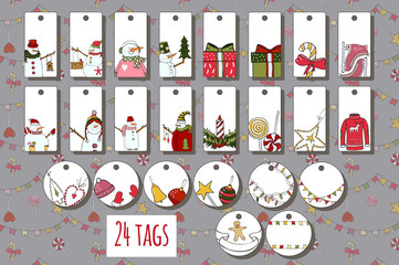 Vector tags for gift decorations with Christmas and new year attributes. Winter design with cartoon elements. Xmas design