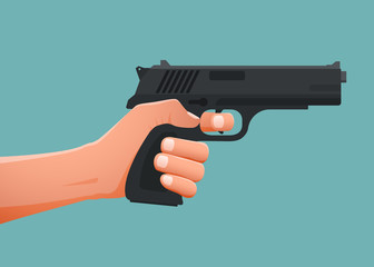 Hand holding gun shoting. Vector illustration