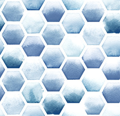 Hexagon pattern of blue colors on white background. Watercolor seamless pattern