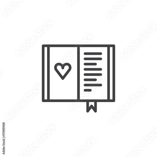 Diary With Heart Line Icon Outline Vector Sign Linear Style
