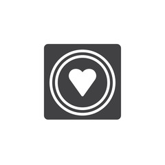 Condom with heart icon vector, filled flat sign, solid pictogram isolated on white. Symbol, logo illustration.