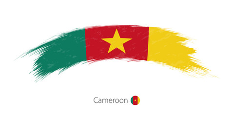 Flag of Cameroon in rounded grunge brush stroke.