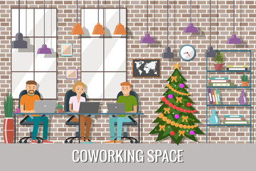 Vector illustration of  co working space. Christmas working plac