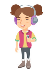 Caucasian girl enjoying music in headphones. Little girl in earphones listening to music with a music player. Vector sketch cartoon illustration isolated on white background.