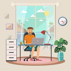 Freelance man working at the computer at home. Digital nomad. Ve