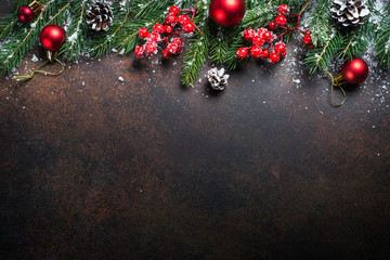 Christmas background on dark table.