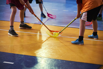 Close view of floorball players during mach n
