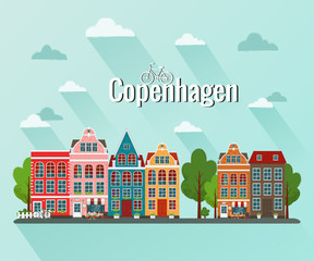 Vector illustration of Copenhagen. Old european city.