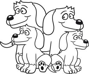 eltern 2 kinder brüder geschwister schwestern familie sitzen sitz baby kind klein junges papa mama stehen warten gehorsam lustig hund welpe süß niedlich haustier comic cartoon