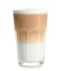 Glass with latte macchiato on white background