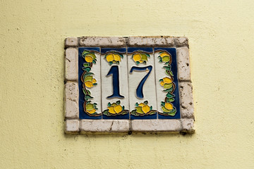 house number on ceramic tiles