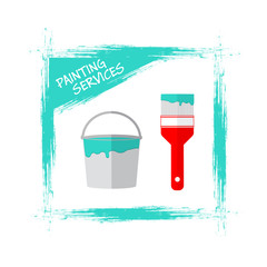 Painting Services Logo.  Blue Paint Strokes on White Background. Bucket with blue paint and brush. Stock vector. Flat design.