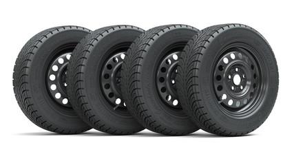 Set of new car wheels 3d