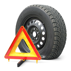 The punctured automobile wheel and emergency warning triangle sign
