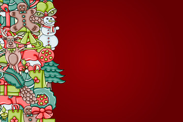 Christmas background with space for text. For a greeting card, flyer, or brochure. Hand drawn cartoon style doodle vector illustration.