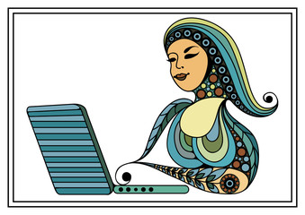 Graphic illustration with a computer user 16