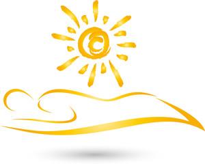 Person und Sonne, Sonnenstudio, Solarium, Logo