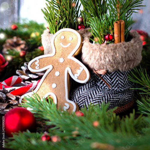 Christmas Background With Cookies Gingerbread Man Candy Cane