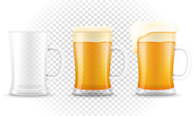 beer in mug transparent stock vector illustration